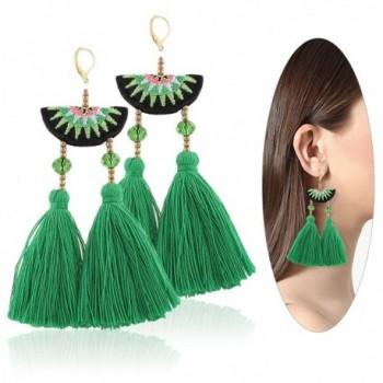 Eternity J. Women Ethnic Bohemian Embroidery Long Wool Tassel Drop Dangle Earrings Eardrop - Green - CC182XQ966E