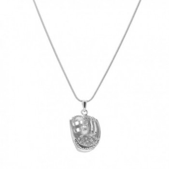 chelseachicNYC Silver Crystal Softball Glove and Hanging Ball Necklace - CV129G32IL7