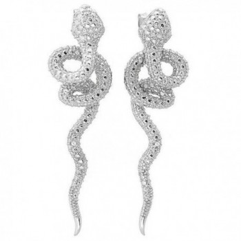 De Buman Sterling Silver Diamond Snake Earrings (G-H- SI1-SI2) - CW119SFJWJ5