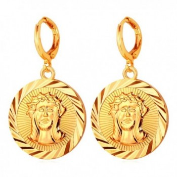 Coin Drop Earrings For Women Gold Plated Jesus Christ Medal Dangle Earring By U7 - CP126NHL5QD