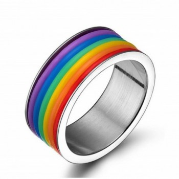 WINCAN Stainless Steel LGBT Gay& Lesbian Rainbow Engagement Ring - CN12FKLEXN5