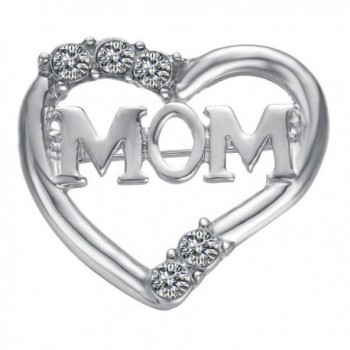 Yoursfs Heart Brooch For Women Cluster Micro Pave Clear Austrian Crystal Love Heart Brooch Pin - Mom - CU11VJZUN6X