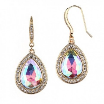 Mariell Gold AB Crystal Pear-Shaped Dangle Earrings for Wedding Parties- Prom- Bridesmaids & Fashion Glam - CD12NUECDH7