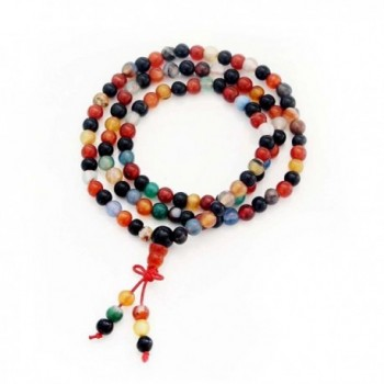 108 6mm Agate Beads Buddhist Prayer Meditation Mala Necklace - CA119HOD7YD