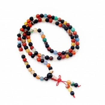 Agate Buddhist Prayer Meditation Necklace in Women's Strand Necklaces