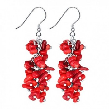 Cuicanstar Multicolour/Red Stone Cluster Reconstructed Coral Sterling Silver Hook Dangle Drop Earrings - Red - CE17YQG3U9R