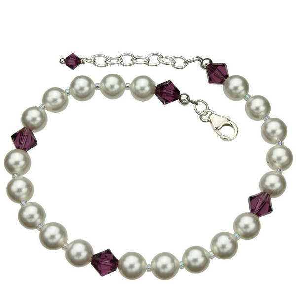 """Sterling Silver Ankle Bracelet- Simulated Pearls Made with Swarovski Crystals 9""""+1"""" Extender - C311G0TSHGB"""