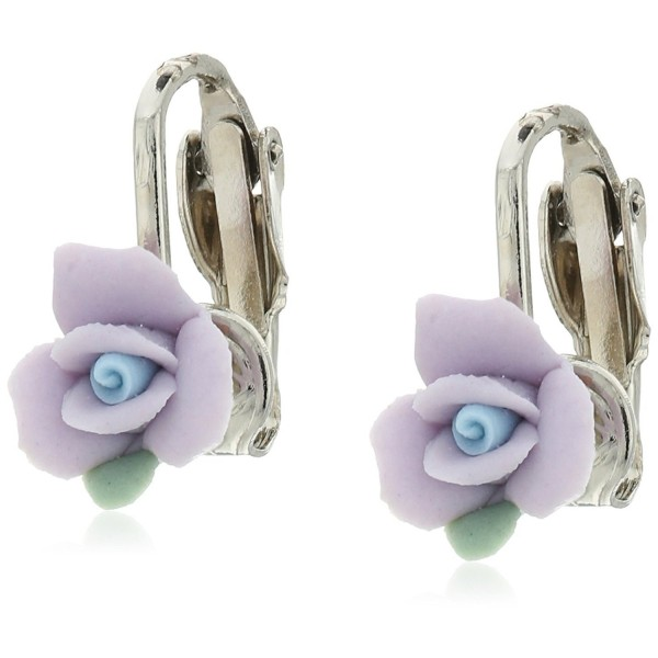 1928 Jewelry Silver-Tone Lavender Purple Porcelain Rose Clip-On Earrings - C7128X3QWFT