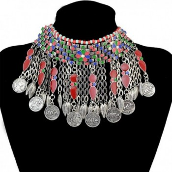 Bohemian Jewelry Retro Silver Plated Collar Bib Choker Coins Tassels Pendants Necklace for Women - Red - CH12O9Q5UVN