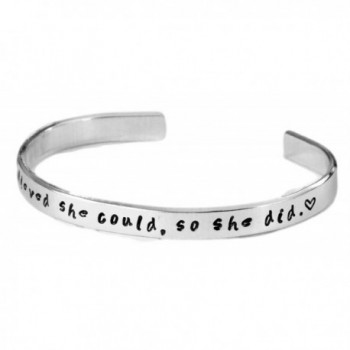 "She Believed She Could so She Did. - Inspired - Hand Stamped 1/4"" .925 Sterling Silver Cuff - C91236MSMZ5"