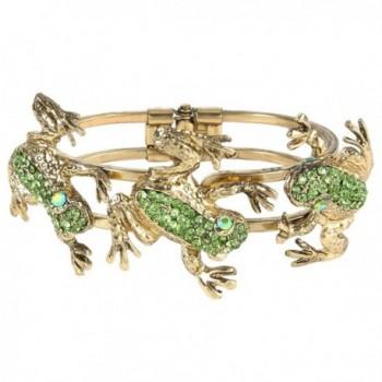 EVER FAITH Women's Austrian Crystal Vintage Inspired 3 Frogs Bangle Bracelet - Green Antique Gold-Tone - C811BGDIZ0J