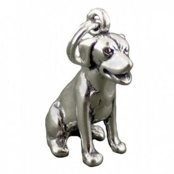 Corinna-Maria 925 Sterling Silver Sitting Labrador Retriever Dog Charm - C71168KGVID