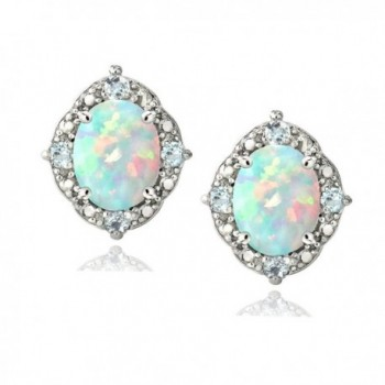 Sterling Silver Created White Opal & Light Blue Topaz Oval Stud Earrings - CQ12F0K5UP1