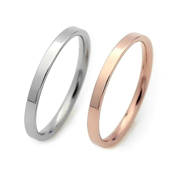 ELBLUVF Stainless Steel Thin Band Ring Hammered Stacking Skinny Wire Ring Simple Knuckle Ring - CG12FKQOK0L