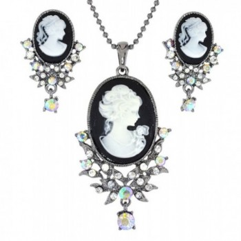 Almost Matching Lady Profile Cameo Simulated Rhinestone Necklace and Clip-On Earing Set - Colorr Colorclear Color - CL11X6WOKN9