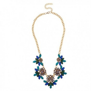 Lux Accessories Womens Floral Multicolor Chunky Statement Necklace - Green Blue - CI11YLDJURD
