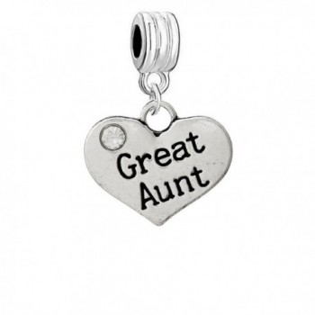 Great Aunt Heart Charm Dangle Bead Compatible with Snake Chain Charm Bracelets - C712BV58TTX