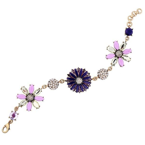 Fashion Gold-Plated Diamond Flower Rhinestone Drop Adjustable Link Strand Bracelet Jewelry for Women - C2185K8KX76