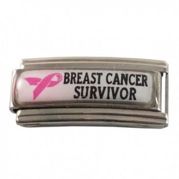Breast Cancer Survivor ID Alert Italian Charm for Bracelet - C91196VQYLZ