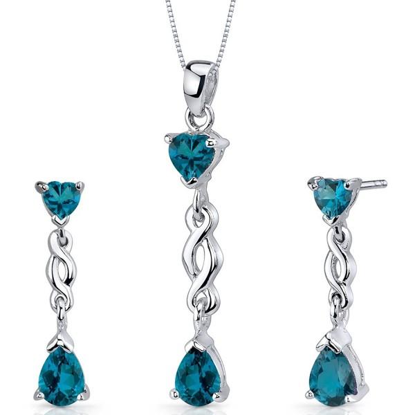 London Blue Topaz Pendant Earrings Necklace Set Sterling Silver 3.25 Carats - CM115NUJX6B