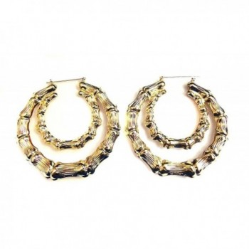 Large Bamboo Hoop Earrings Gold or Silver Tone Double Hoop Earrings - CP12CZZCJDF