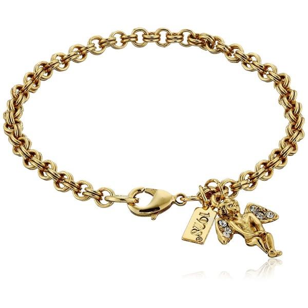 "Symbols of Faith ""Inspirations"" 14k Gold-Dipped Crystal Angel Chain Link Charm Bracelet- 7"" - CH126XGZMKJ"