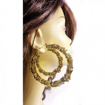 Large Bamboo Earrings Silver Double
