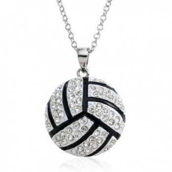 "PammyJ Large White and Crystal Volleyball Pendant Necklace- 18"" - CI117RROCPP"
