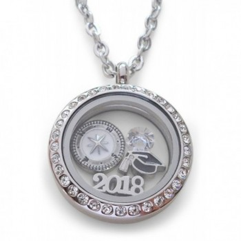 2018 Graduate Gift Locket Necklace with Birthstone - Good Luck on the Path Ahead of You - CK1853R3E2Z