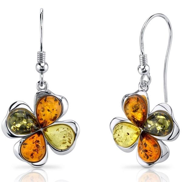 Baltic Amber Clover Earrings Sterling Silver Olive Honey and Cognac Colors - C011Y5N2JPJ