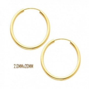 14K Yellow Gold 20 mm in Diameter Endless Hoop Earrings with 2.0 mm in Thickness - CT11OK94DAL