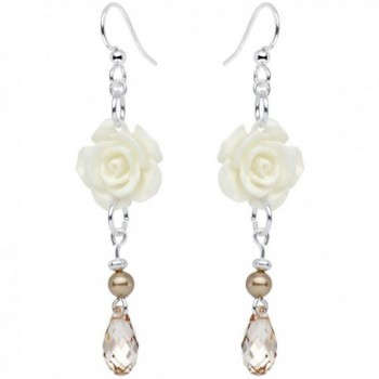 Body Candy Handcrafted 925 Sterling White Elegant Rose Earrings Created with Swarovski Crystals - CF1298X2GDZ
