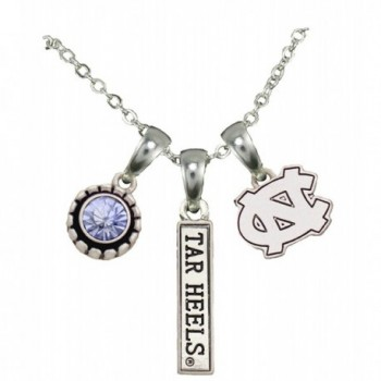 North Carolina Tar Heels 3 Charm Blue Crystal Silver Chain Necklace Jewelry UNC - CZ12CF5Y87F
