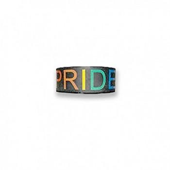 Black Silicone Pride Bracelet - Gay & Lesbian LGBT Pride Wristlet with Rainbow Text - CN1195PBJZ3