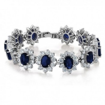 27.00 Carat Oval and Round Royal Blue Sapphire CZ Tennis Bracelet 7 Inch with Security Clasp - C311QVXUNE5