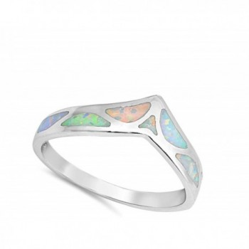 Simulated Mosaic Chevron Sterling Silver