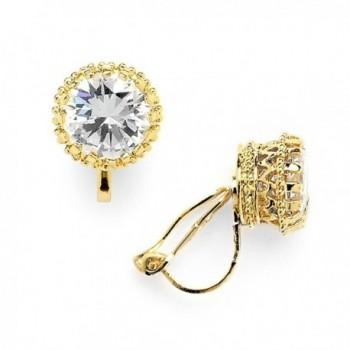 Mariell 14K Gold Plated Crown Setting Clip-On Cubic Zirconia Stud Earrings - Regal 2 Ct. Round Solitaire - CQ12J5BEF11