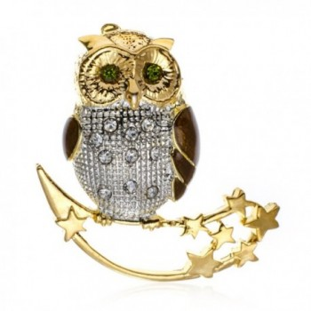 PammyJ Green and Clear Crystal Owl on Moon and Stars Brooch Pin - CP122K4G84H