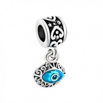 CharmsStory Masonic Blue Evil Eye Dangle Charms Beads For Bracelets - C0128DKAPTZ