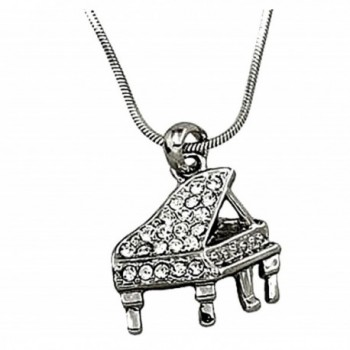 DianaL Boutique Silvertone Crystal Grand Piano Musical Instrument Pendant Necklace Gift Boxed - CD110TPXDP7