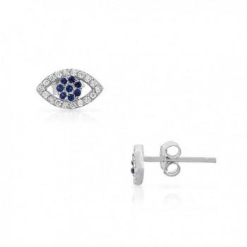925 Sterling Silver Blue White CZ Evil Eye Stud Earrings - White - CN11MLPEDL1