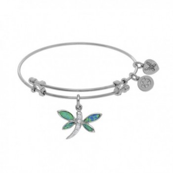 Angelica Collection Brass White Created Opal Dragonfly Charm On W Hite Bangle - CT12K5CN501