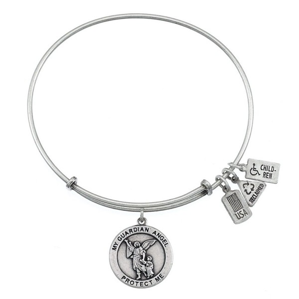 Wind and Fire Guardian Angel Charm Bangle Bracelet (Antique Silvertone Finish) - C311WT7A06R