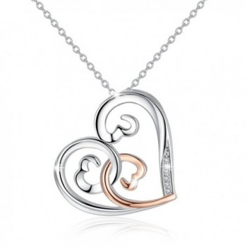 Sterling Silver Open Hearts Women Necklaces Rose Gold Love Pendant Birthday Gift for Mom - CK188N6ASRR