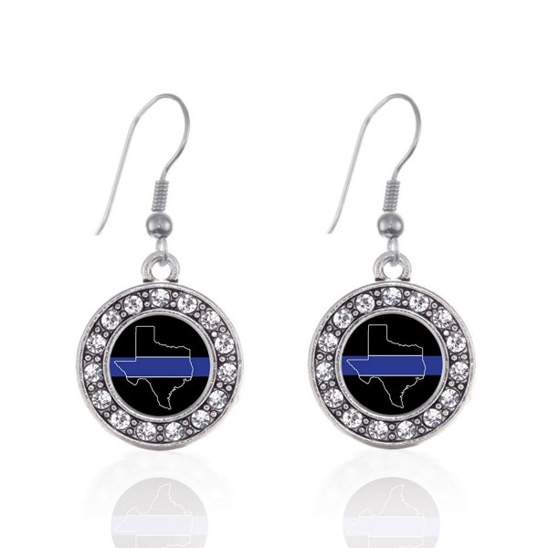 Inspired Silver Texas Thin Blue Line Circle Charm French Hook Earrings - CN12J71MW9V