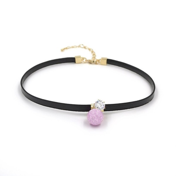 Natural Stone and Diamond Charm Black Leather Alice Choker Necklace12.5 Inch - Pink - C012HKKOSMF