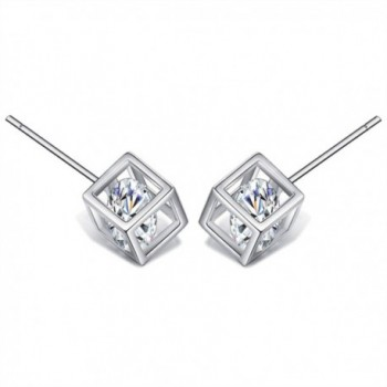 925 Sterling Silver Square Stud Earrings For Women With AAA Cubic Zirconia - C3184UZ23O0