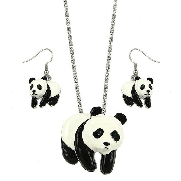 DianaL Boutique Panda Bear Charm Pendant Necklace and Earrings Set Gift Boxed Fashion Jewelry - CJ1258QIJ0F