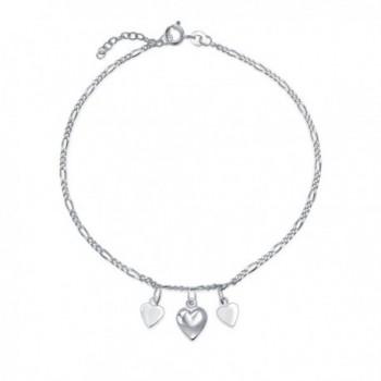 Bling Jewelry 925 Silver Heart Ankle Bracelet Adjustable Anklet 9in - CL11J1G0IJ9