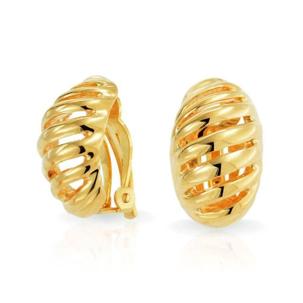 Bling Jewelry Gold Plated Brass Half Hoop Modern Geometric Clip On Earrings - CL11PQG4AFZ